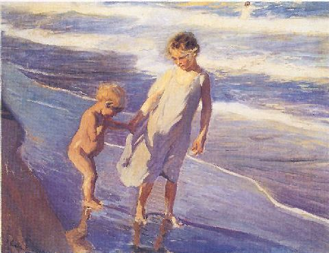 Valencia, Two Children on the Beach by Joaquin Sorolla